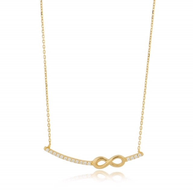 9ct Gold CZ Infinity Bar Necklace