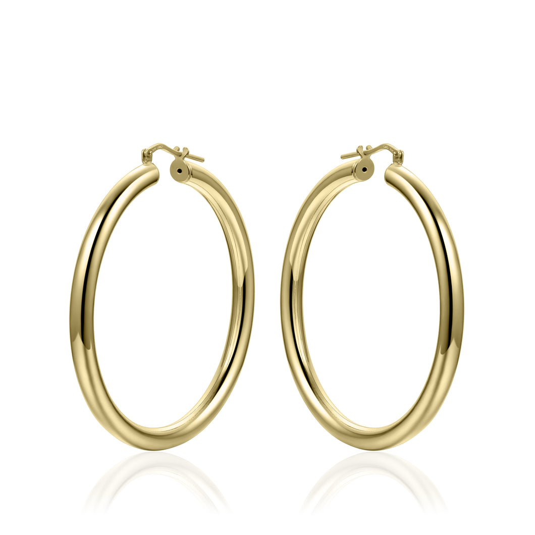 Silver 45mm Hoops - Yellow