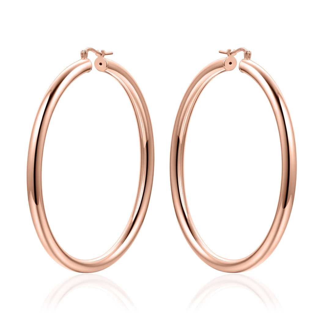 Silver 55mm Hoops - Rose