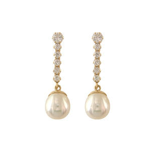 9ct Gold Pearl & CZ Bar Drop Earrings - Yellow Gold