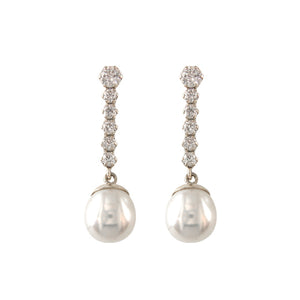 9ct Gold Pearl & CZ Bar Drop Earrings - White Gold