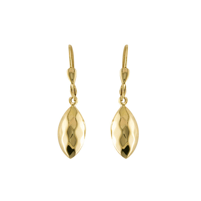 9ct Gold Facet Bombe Drop Earrings