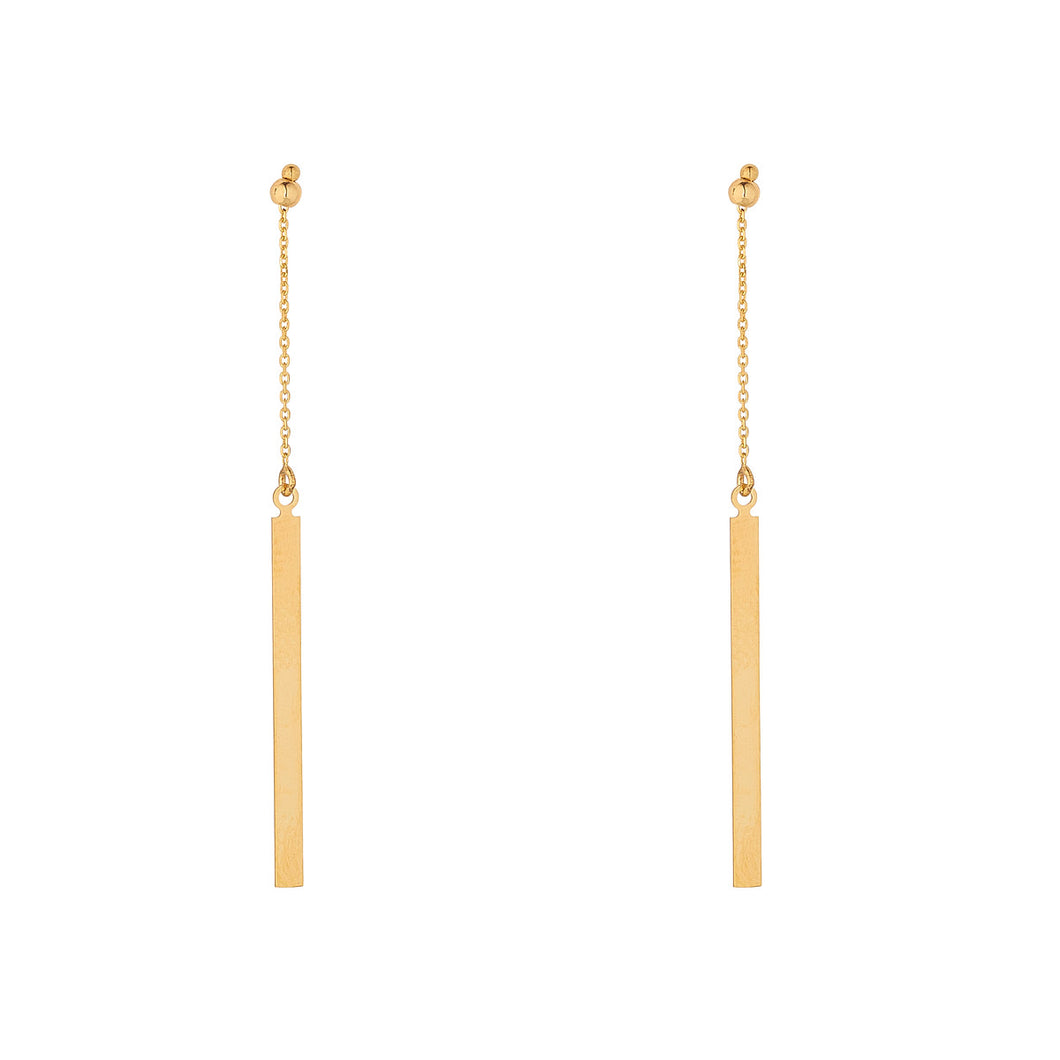 9ct Gold Flat Bar Drop Earrings