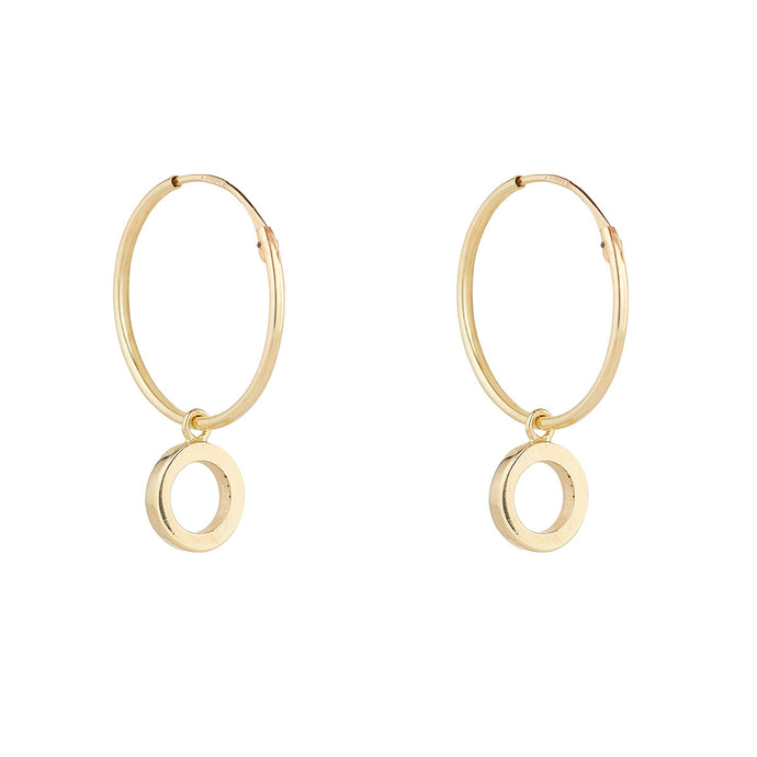 Ear Candy 9ct Gold Sleepers with Open Circle Charm