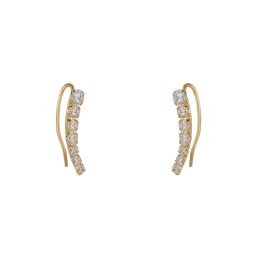 Ear Candy 9ct Gold CZ Ear Climbers - Pair