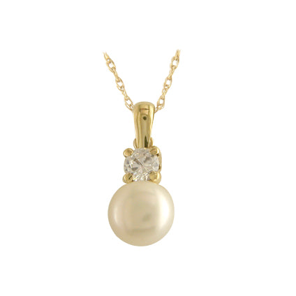 9ct Gold Freshwater Pearl & CZ Necklace