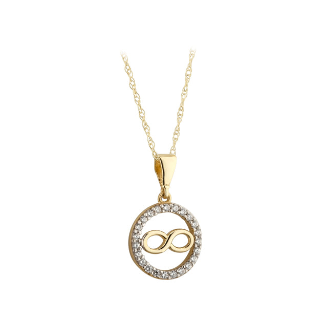 9ct Gold CZ Circle with Infinity Necklace