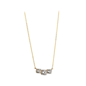 9ct Gold Trilogy CZ Necklace