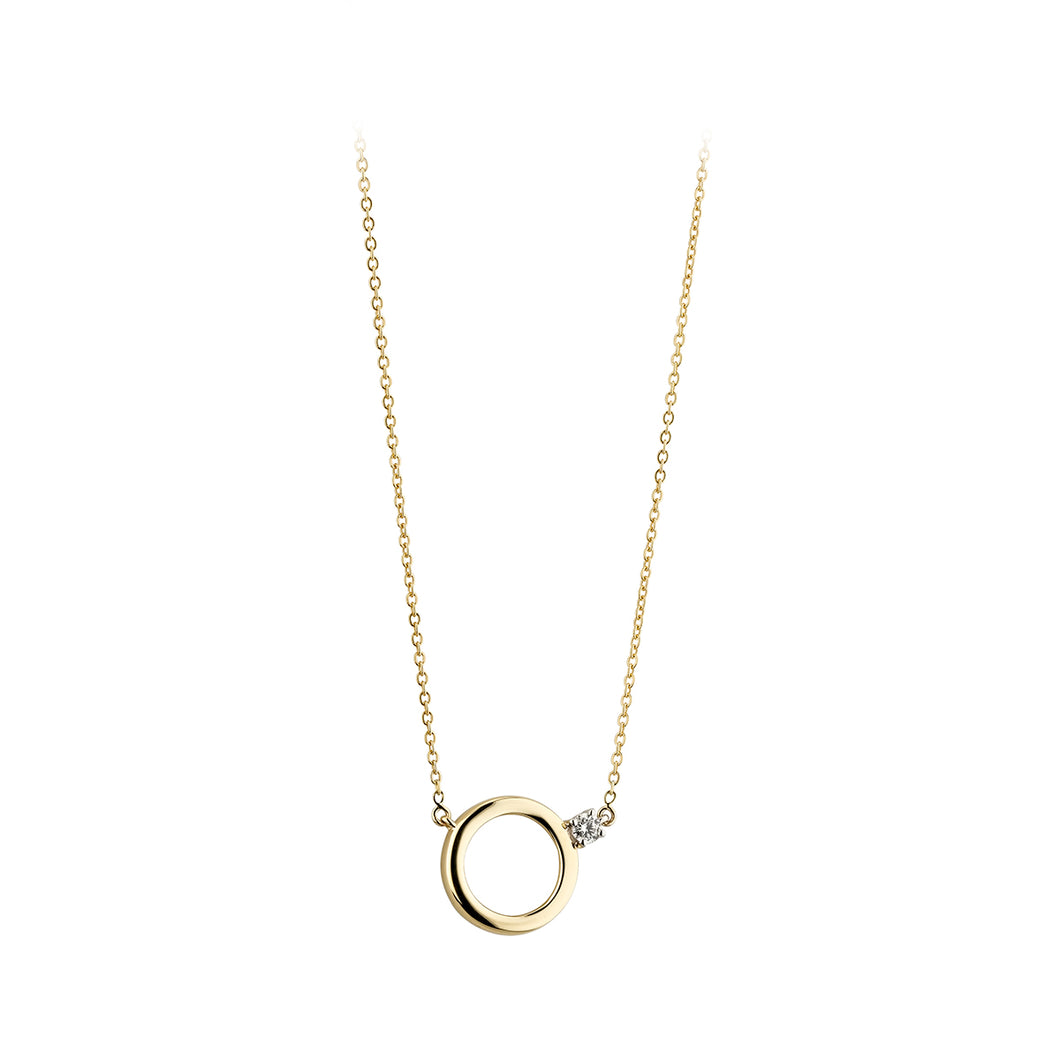 9ct Gold Eternity Circle Necklace with CZ