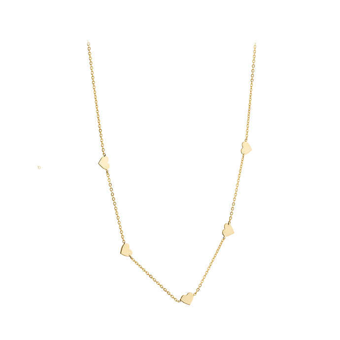 9ct Gold Five Hearts Necklace