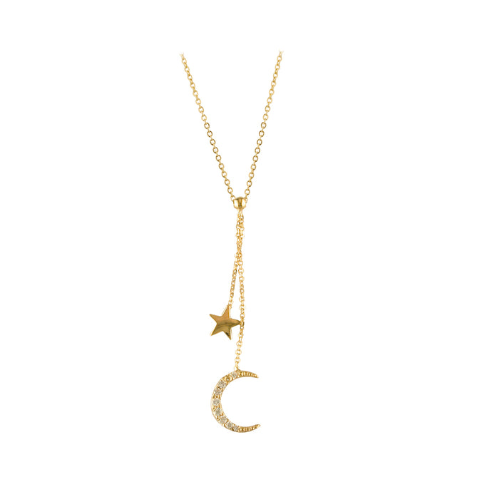 9ct Gold Sparkling Moon & Star Lariat Necklace