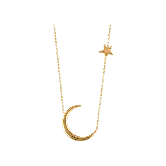 9ct Gold Crescent Moon & Star Necklace