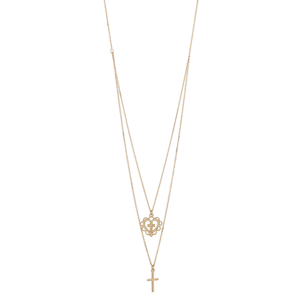 9ct Gold Sacred Heart & Cross Double Necklace