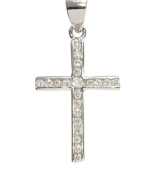 Silver CZ Cross & Chain