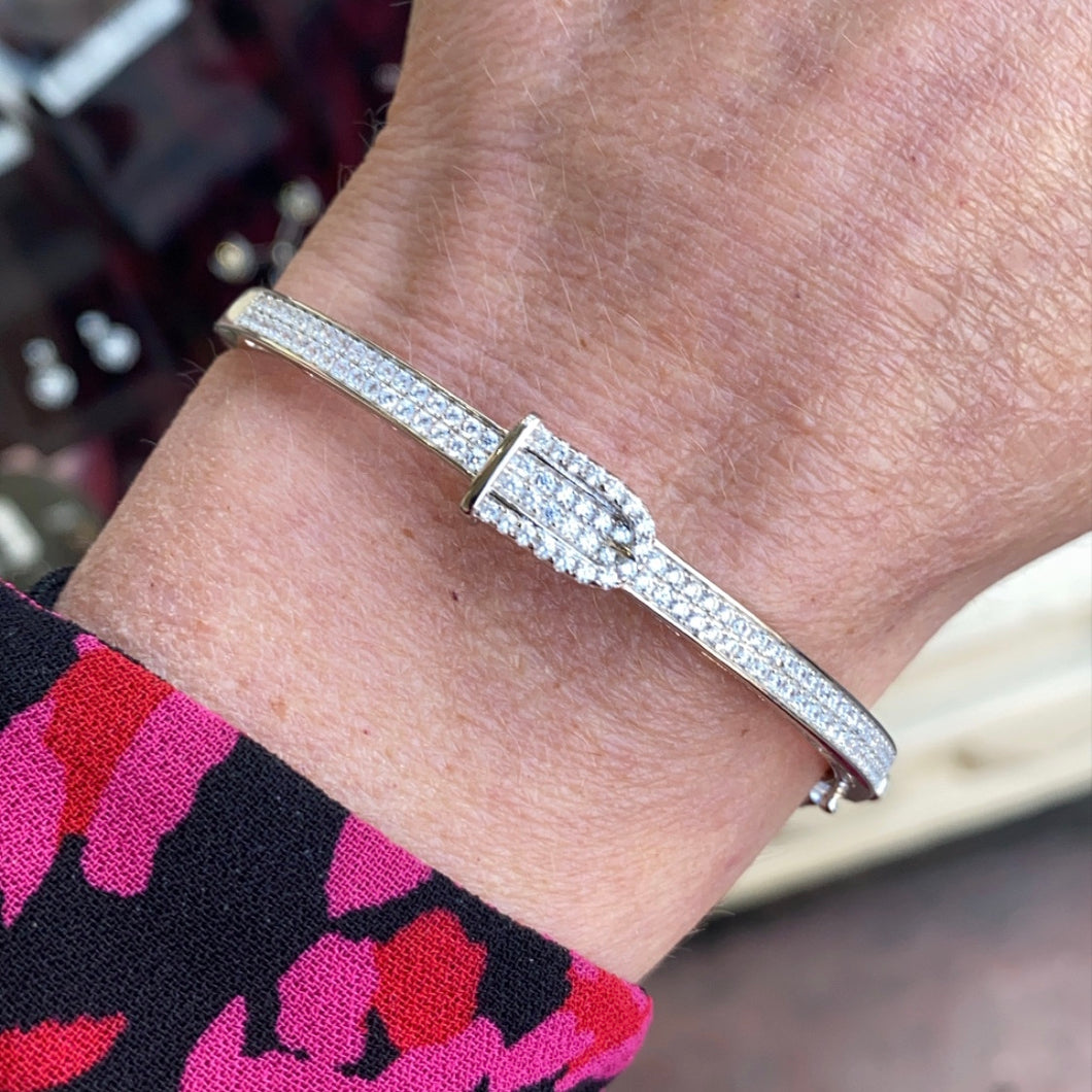 Silver CZ Buckle Bangle