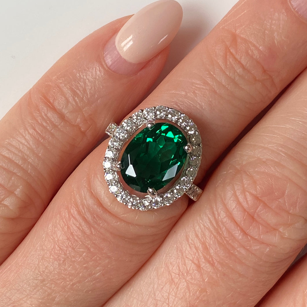 Silver Green CZ Oval Ring