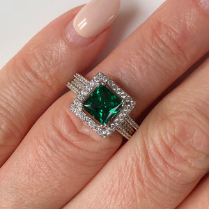 Silver Green CZ Princess Ring