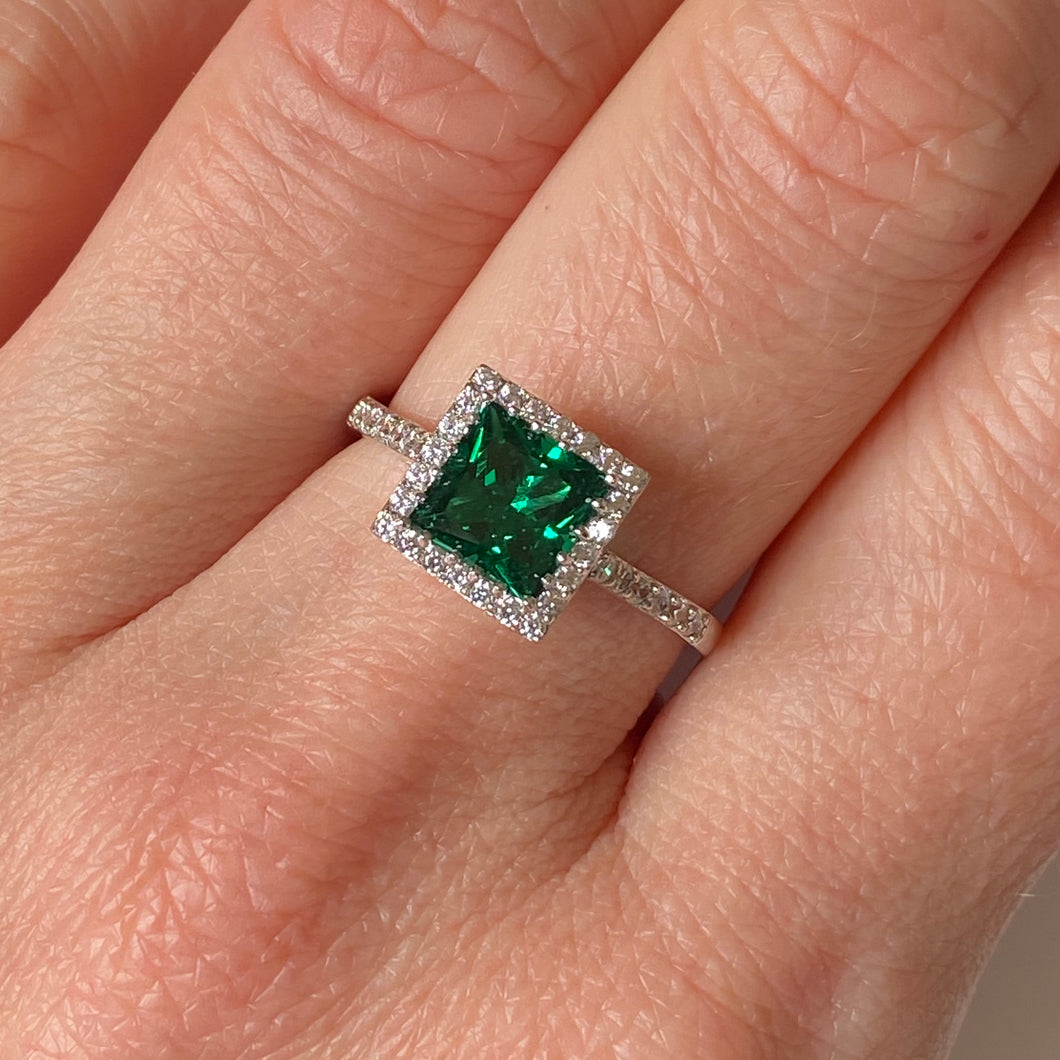Silver Green CZ Square Ring