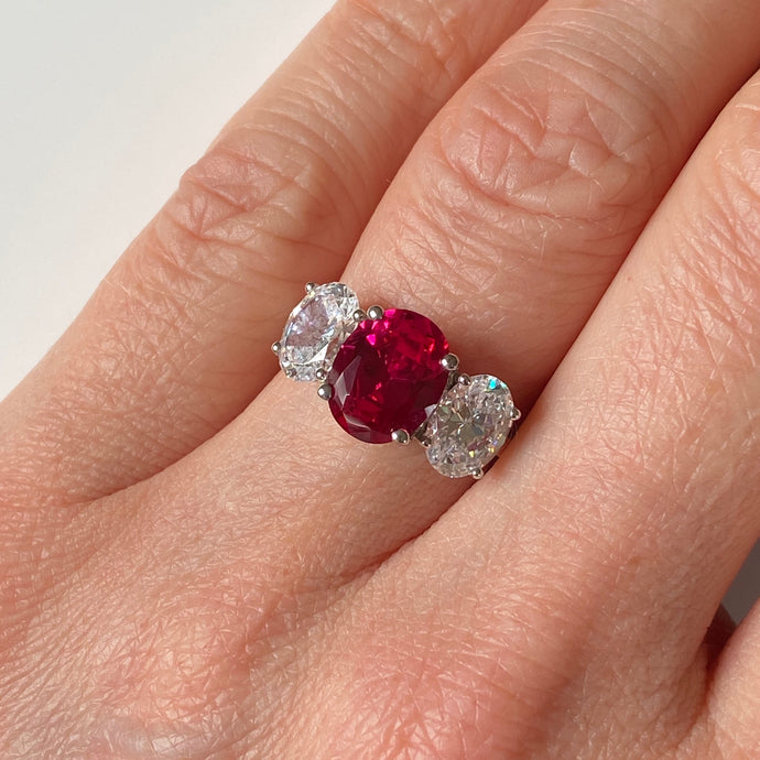 Silver Red CZ Trilogy Ring
