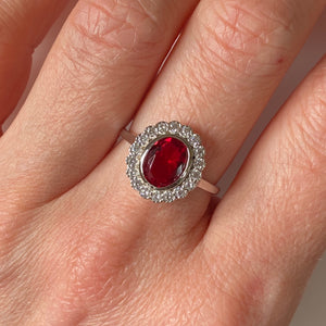 Silver Red CZ Oval Cluster Ring