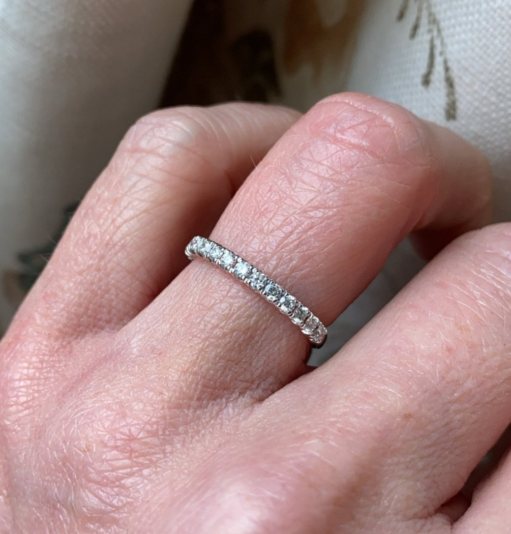 18ct white gold diamond eternity ring set with fifteen round brilliant cut diamonds. 0.36ct in total. G colour. VS clarity. 2mm diameter . This ring is suitable as a wedding band or eternity ring. Size M Other sizes by special order.