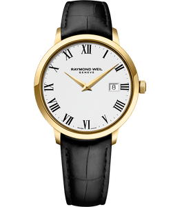 Raymond Weil TOCCATA 39mm Yellow Gold Plated with Leather Strap