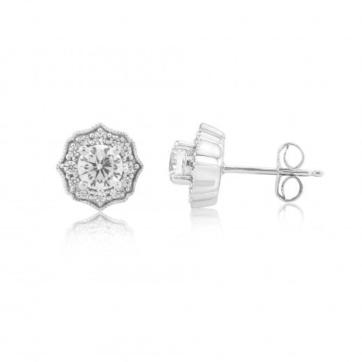 9ct White Gold Vintage Inspired Stud Earrings