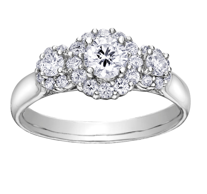 18ct White Gold Trilogy Engagement Ring