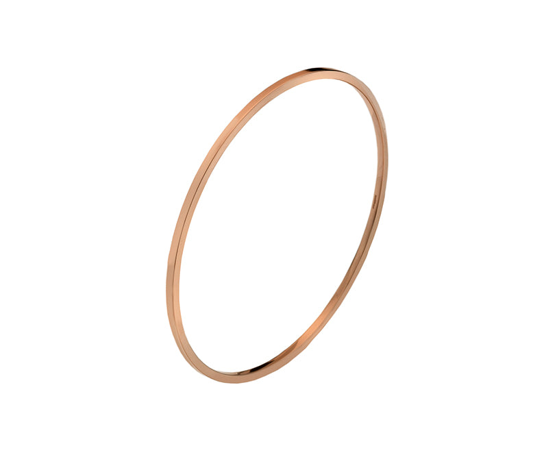 9ct Gold Classic Square Polished Bangle 2mm Rose Gold