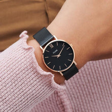 Load image into Gallery viewer, CLUSE Minuit Mesh Rose Gold Black/Black