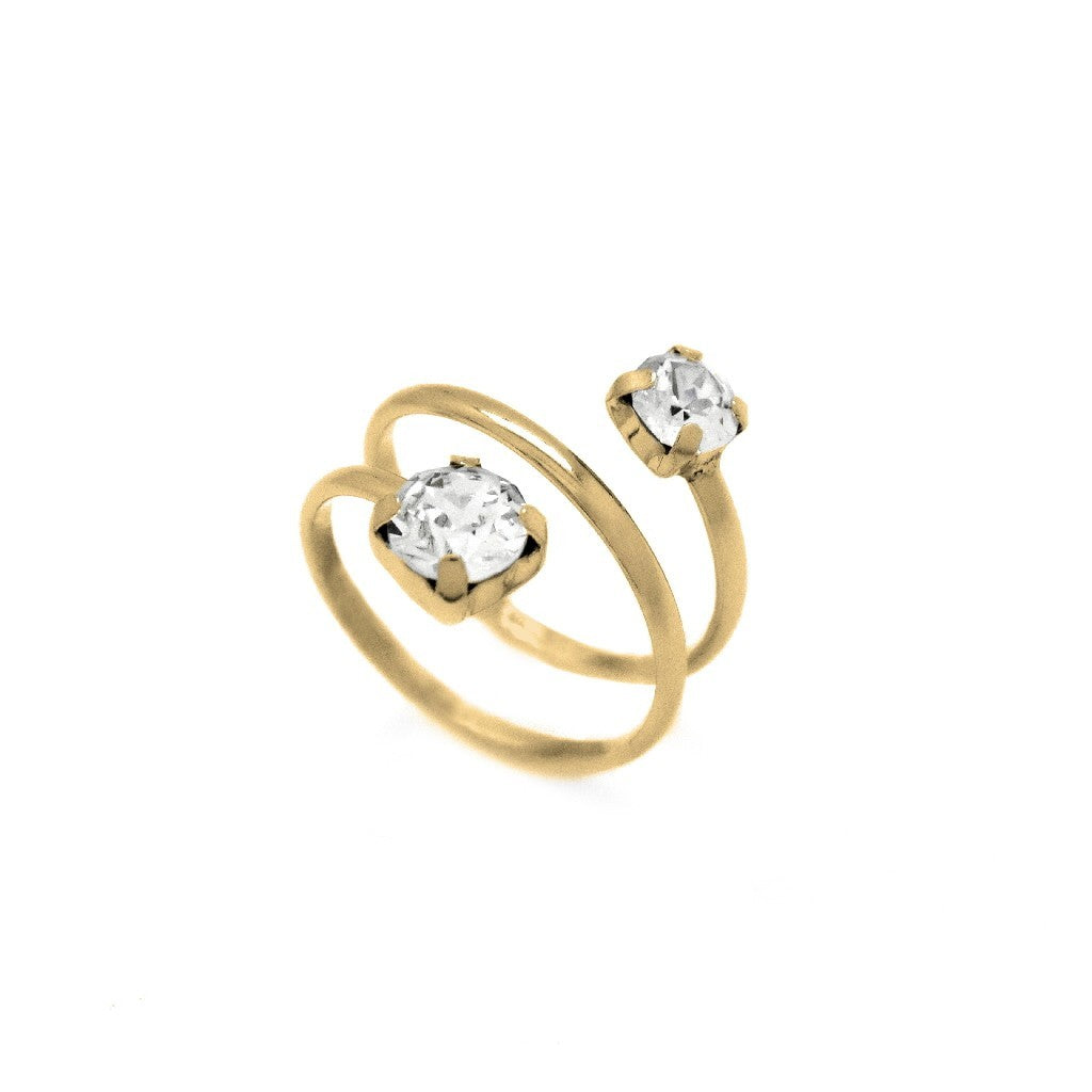 Victoria Cruz Crystal Loop Gold Ring
