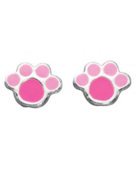 Pink Paw Print Earrings