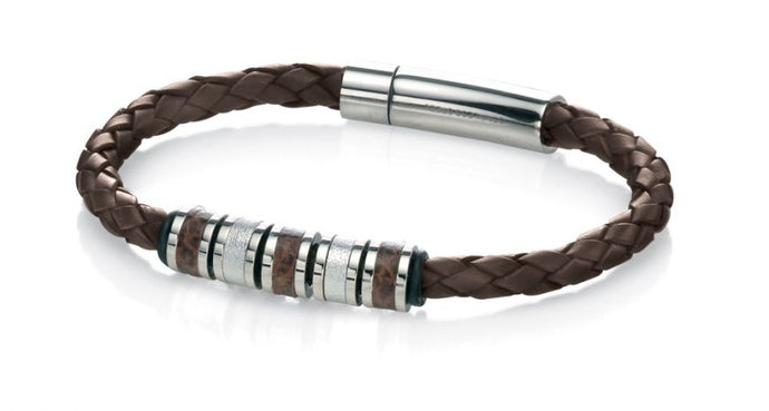 FRED BENNETT Leather Wristband with Beads