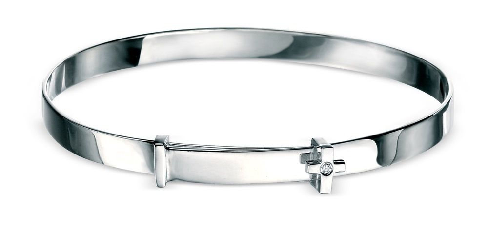 Kids Silver Diamond Cross Bangle - D for Diamond