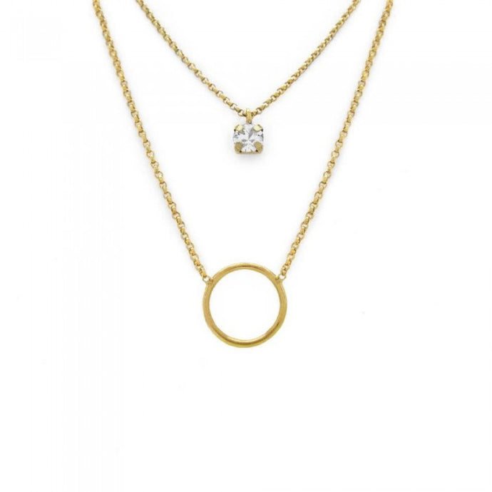 Victoria Cruz Iris Layered Open Circle Necklace