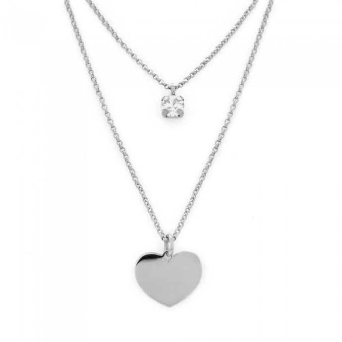 Victoria Cruz Iris Layered Heart Necklace