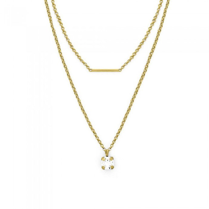 Victoria Cruz Iris Layered Bar Necklace