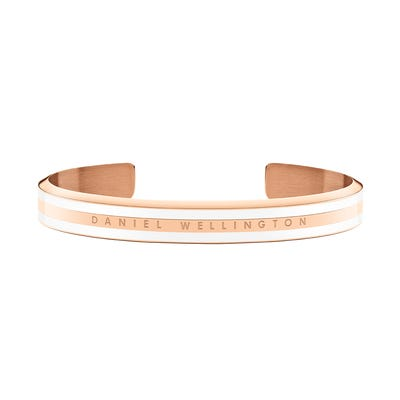 Daniel Wellington Slim Rose Gold Satin White Bangle