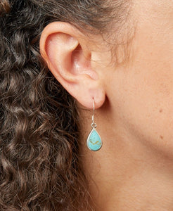 Silver Turquoise Pear Drop Earrings