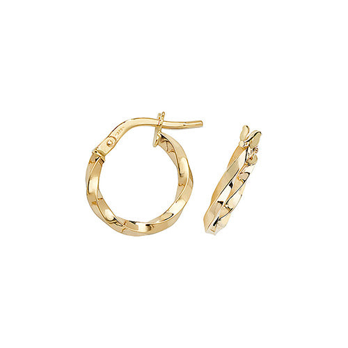 9ct Gold 10mm Twist Hoop Earrings