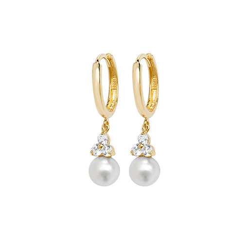 9ct Gold Pearl and CZ Sleeper Earrings