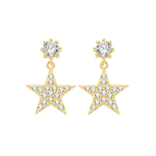 9ct Gold Star Drop Earrings