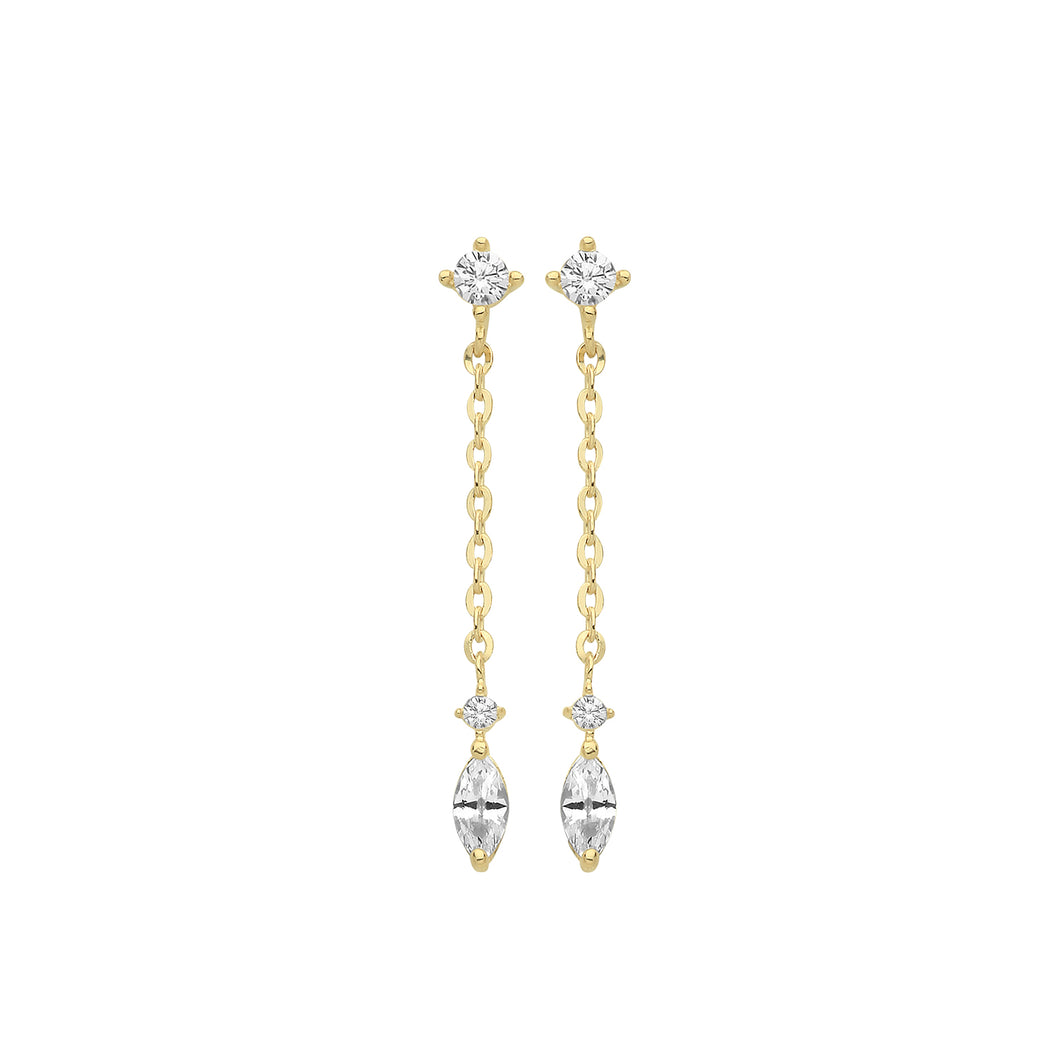 9ct Gold Marquis CZ Drop Earrings