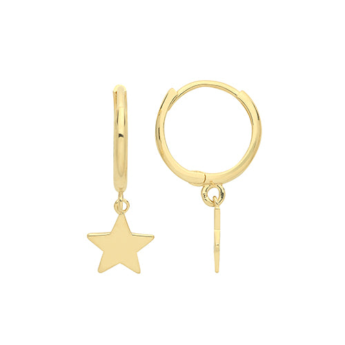 9ct Gold Star Drop Huggie Earrings These 9ct yellow gold hoop earrings are super stylish and bang on trend.  Wear them with any of our gorgeous new 9ct gold fine necklaces.  They are especially nice with a cosy jumper for understated glam on winter days.  An absolute must-have.  They have a plain polished finish. 11mm diameter.  Length 19mm. Material: 9ct gold