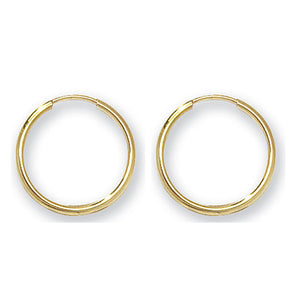 A pair of 9ct yellow gold 14mm sleeper earrings.  Polished finish.