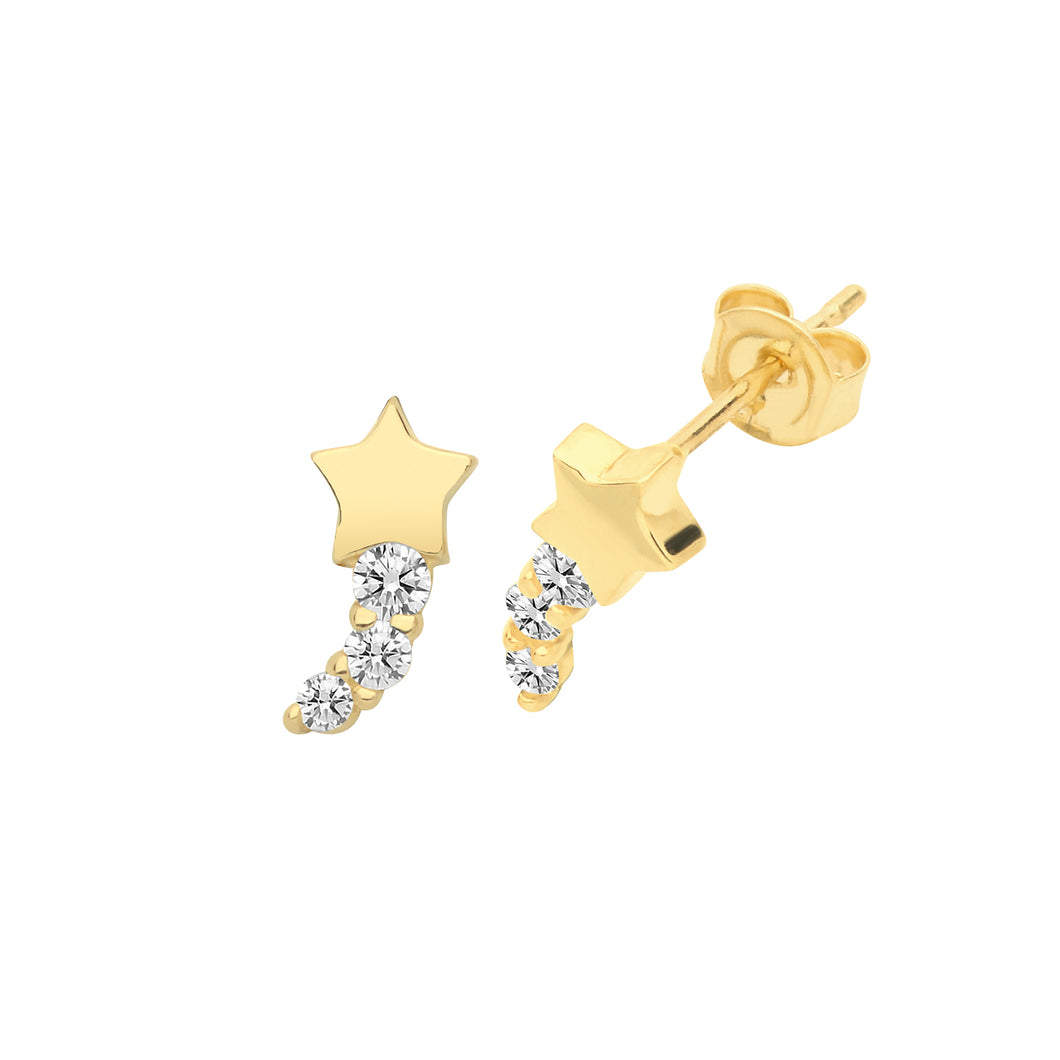 Ear Candy 9ct Gold CZ Shooting Star Stud Earrings