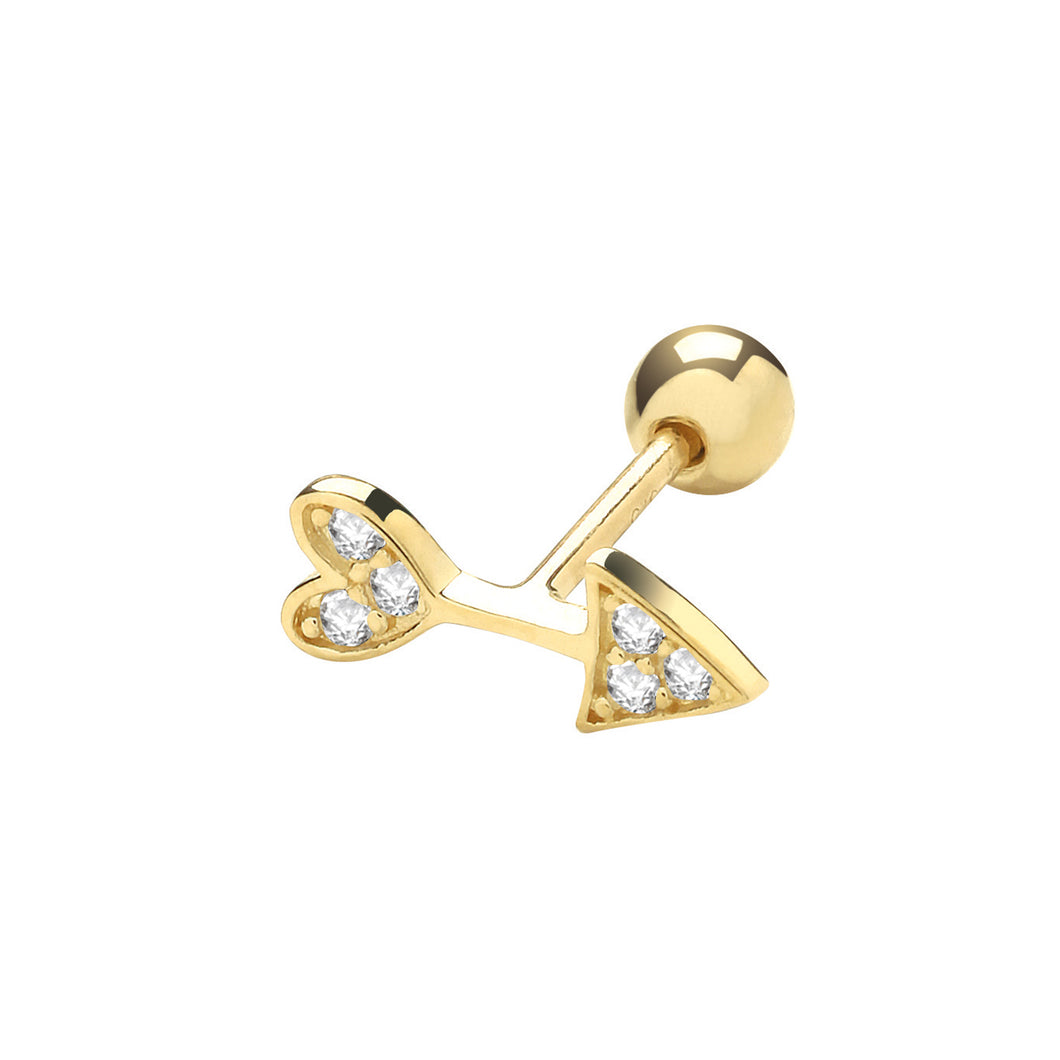 Ear Candy 9ct Gold CZ Arrow Cartilage Stud