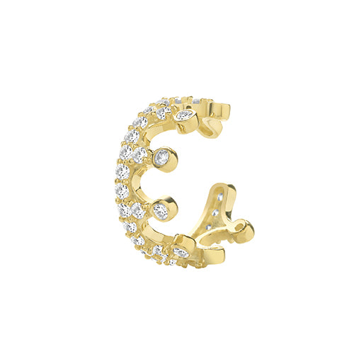 Ear Candy 9ct Gold CZ Crown Ear Cuff
