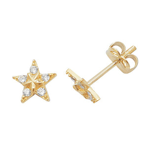 9ct Gold CZ Star Stud Earrings