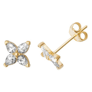 Ear Candy 9ct Gold CZ Marquis Kiss Stud Earrings